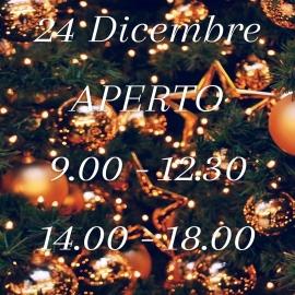 Di avvisa la gentile clientela che, in ottemperanza al DL172 18/12/20 e all'ordinanza PAR n.60, il negozio resterà aperto la Vigilia di Natale negli orari qui indicati.  A tutti voi l'augurio di Buone Feste!